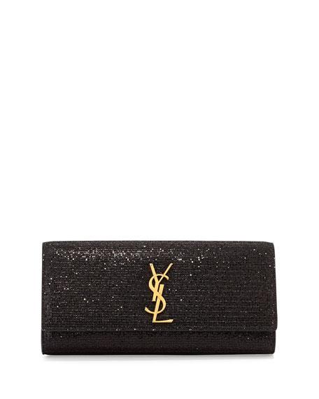 Monogram Glitter Clutch Bag, Black