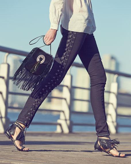 Saint Laurent Anita Small Suede Fringe Flat Bag, Black