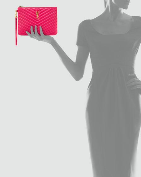 Saint Laurent Monogram Matelasse Pouch Wallet, Fuchsia