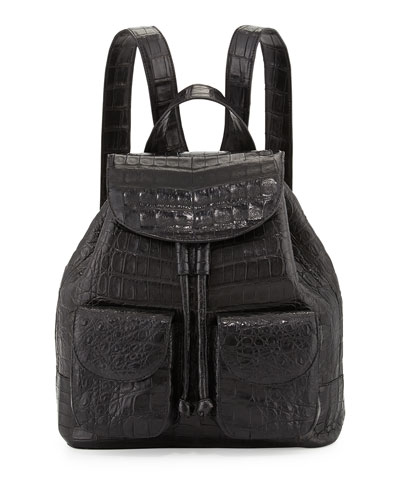 Small Crocodile Backpack, Black