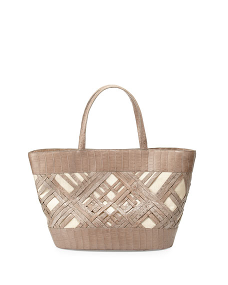 Nancy gonzalez crocodile crisscross tote bag sand matte for Nancy gonzalez crocodile tote