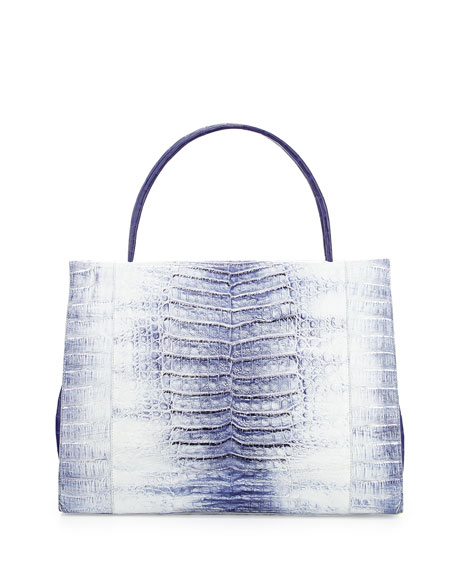 Nancy gonzalez wallis tie dye crocodile tote bag blue multi for Nancy gonzalez crocodile tote