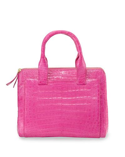 Medium Crocodile Tote Bag, Pink Matte