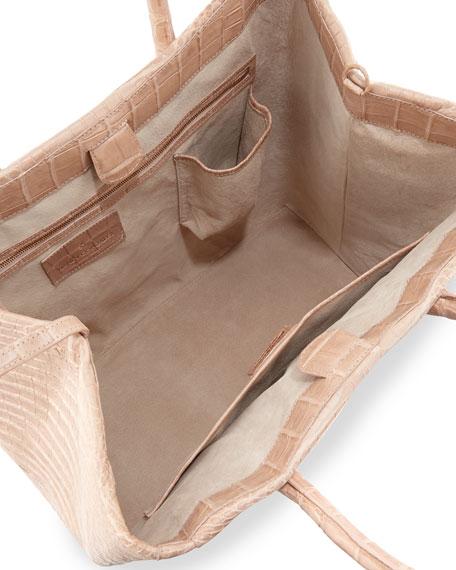 Crocodile Tote Bag, Nude Matte