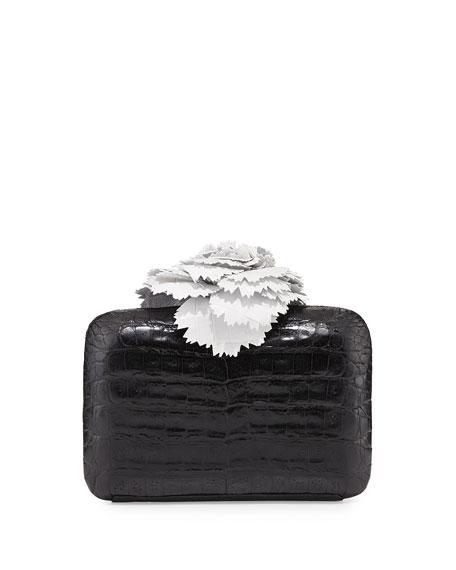 Nancy Gonzalez Crocodile Flower Minaudiere, Black/White