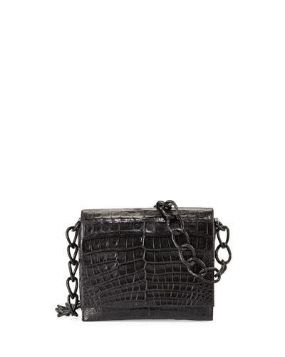 Crocodile Small Chain Shoulder Bag, Black Matte