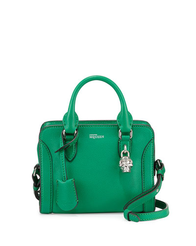Mini Padlock Zip Satchel Bag, Green