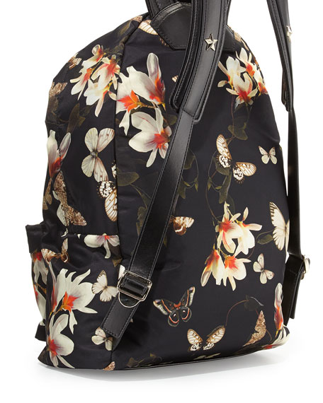 Leather Backpack, Magnolia Print