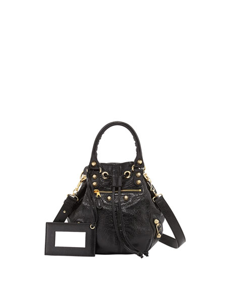 Balenciaga Giant 12 Golden Mini Pompon Bag, Black