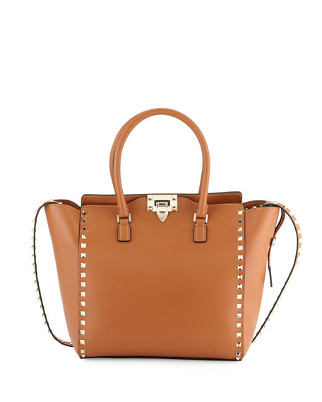 Rockstud Double-Handle Shoulder Tote Bag, Brown