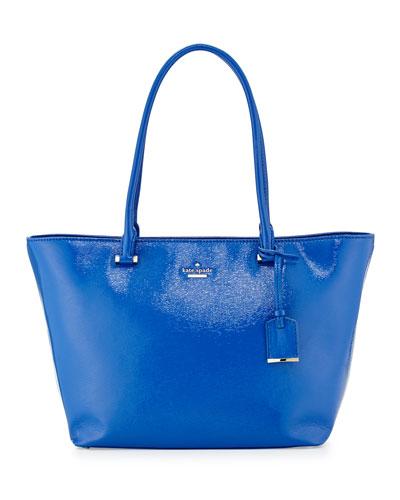 cedar street small patent handbag, orbit blue