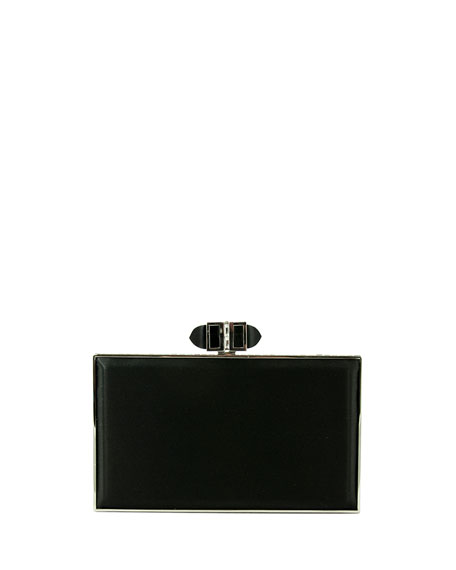 Satin Coffered Rectangle Clutch Bag, Black