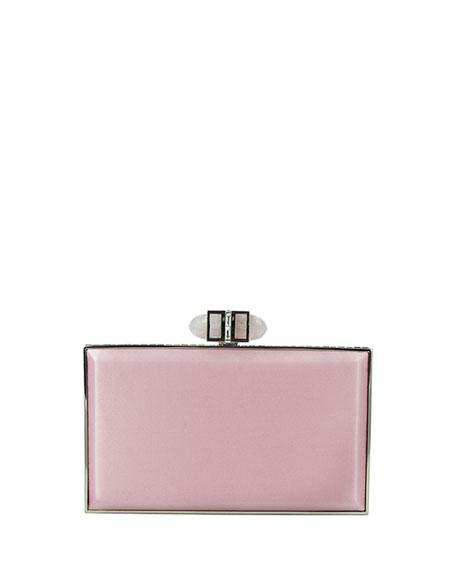 Satin Coffered Rectangle Clutch Bag, Light Rose