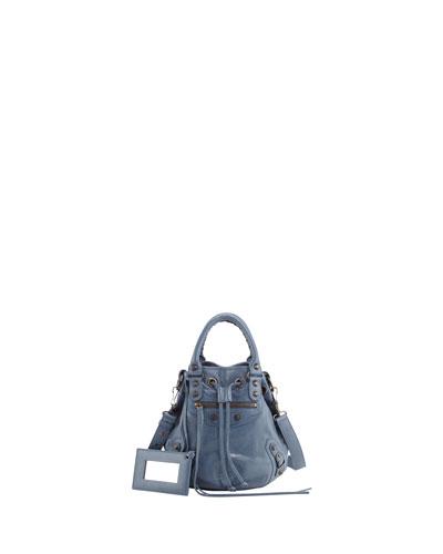 Classic Mini Pompon Bag, Bleu Persan