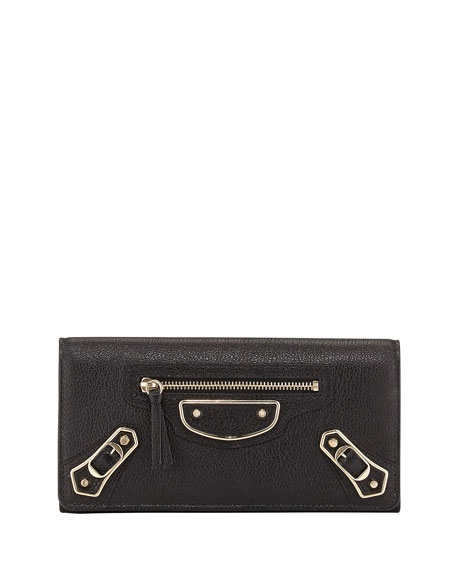 Balenciaga Metallic Edge Classic Money Wallet, Black