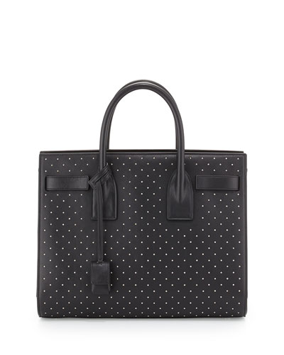 Small East-West Studded Tote Bag, Black