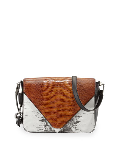 Alexander Wang Prisma Lizard-Print Envelope Shoulder Bag Multicolor<br />