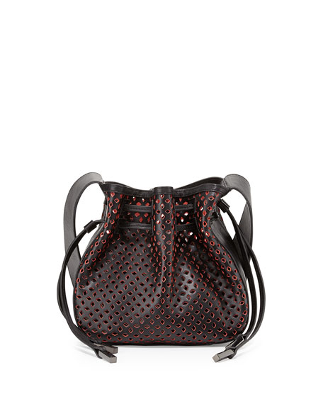 Halston Heritage Bianca Medium Perforated Drawstring Crossbody Bag