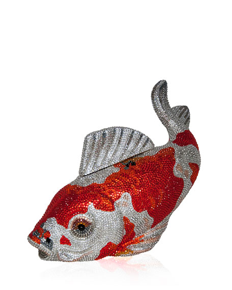 Koi Fish Crystal Minaudiere, Orange/Silver