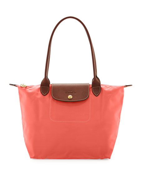 Le Pliage Large Nylon Shoulder Tote Bag, Coral