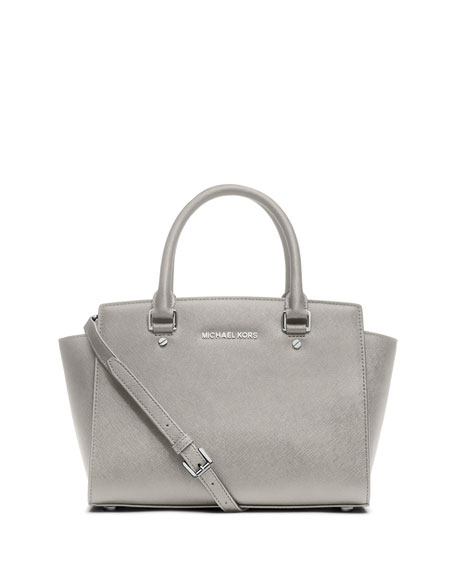 Selma Medium Top-Zip Satchel Bag, Pearl Gray