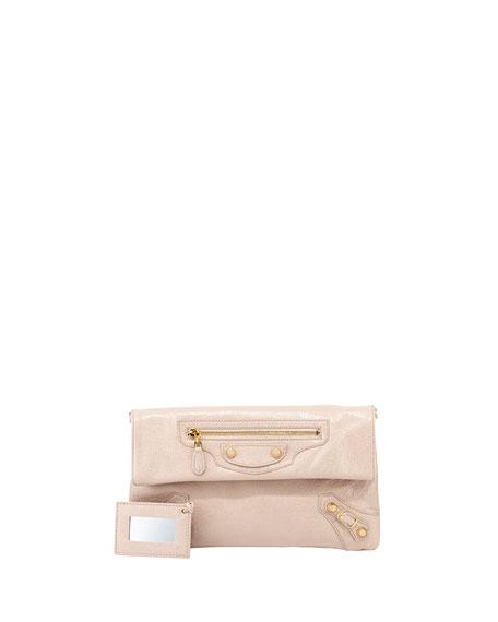 Giant 12 Golden Envelope Clutch Bag, Rose Azalee