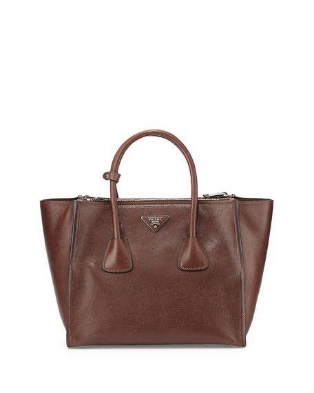 Prada Glace Calf Twin Pocket Tote Bag, Dark Brown (Bruciato)