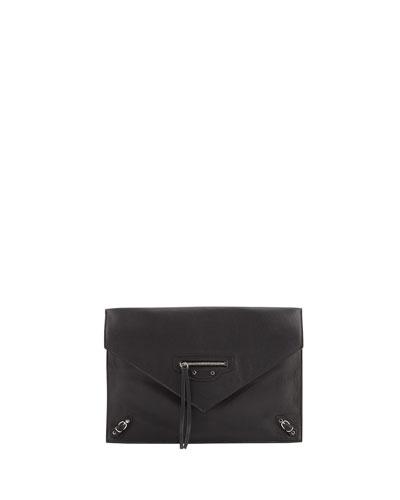 Papier Envelope Zip Clutch Bag, Black
