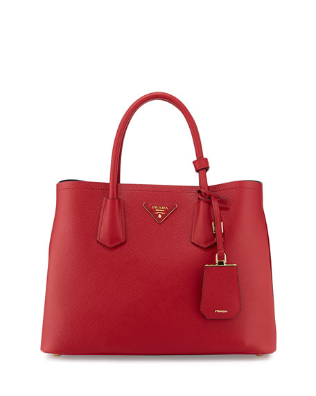 Prada Saffiano Cuir Small Double Bag, Red (Fuoco)