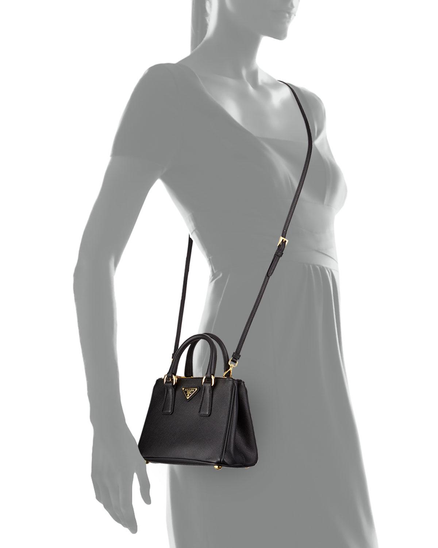 ... ireland prada saffiano mini galleria crossbody bag black nero neiman  marcus be185 57527 d97a5d994c3f3