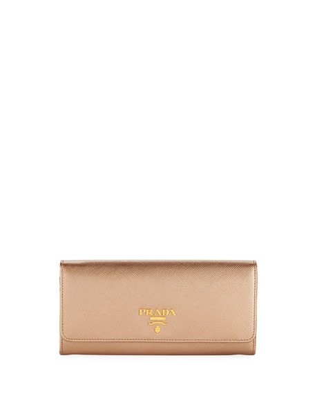 Prada Saffiano Leather Continental Wallet with Removable ID