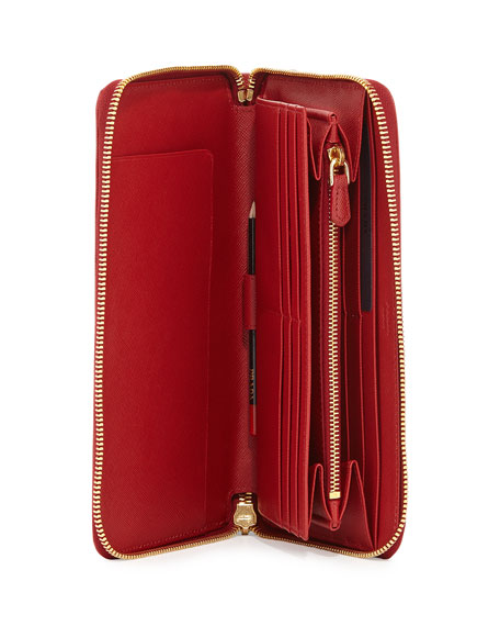Saffiano Large Zip-Around Travel Wallet, Red (Fuoco)