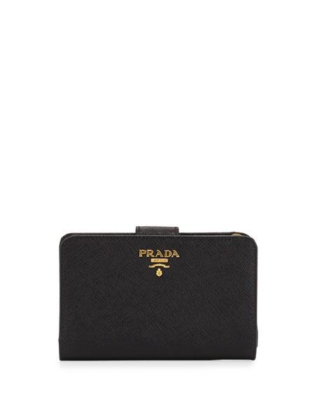 Prada Saffiano Triangle Bi-Fold Tab Wallet, Black (Nero)