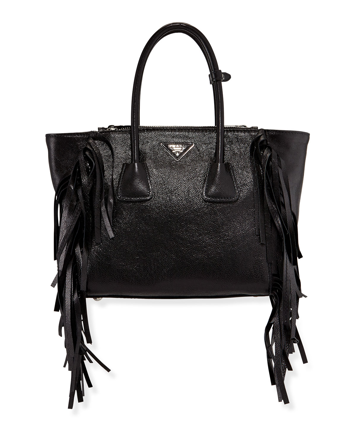 aaf76b700d23 Prada Glace Calf Twin Pocket Tote Bag, Black (Nero) | Neiman Marcus