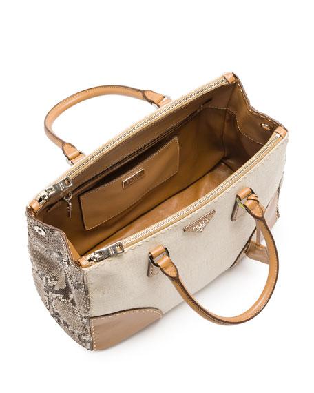Prada Canvas Tote Bag with Python \u0026amp; City Calf Trim, Natural (Naturale)