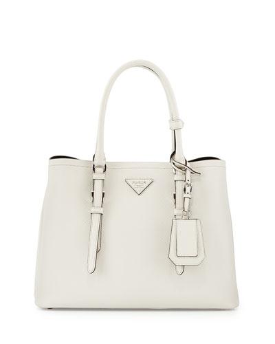 e5d167069db7 Prada Saffiano Cuir Covered-Strap Double Bag, White (Talco) WOW ...