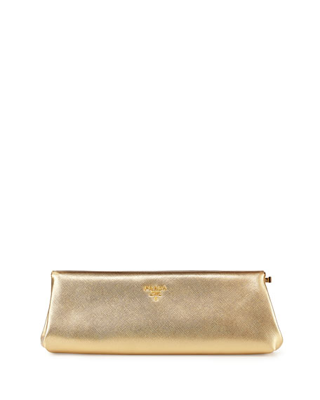 Prada Saffiano East-West Clutch Bag, Gold (Platino)