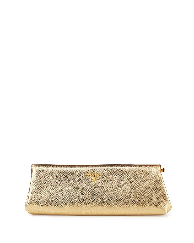 3975fbb27291 Prada Saffiano East-West Clutch Bag, Gold (Platino)   Neiman Marcus
