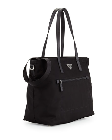 Prada Vela Zip-Front Tote Bag, Black (Nero)