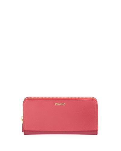 Saffiano Double Bicolor Wallet, Pink/Dark Pink (Peonia+Bisco)