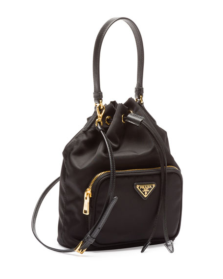 Prada Tessuto Mini Bucket Crossbody Bag Black Nero