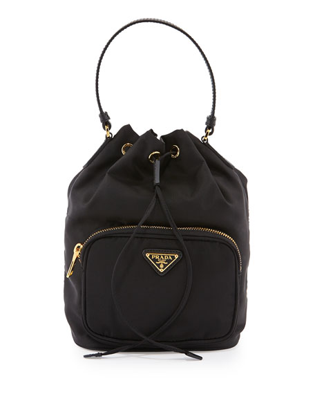 prada brown leather messenger bag - Prada Tessuto Mini Bucket Crossbody Bag, Black (Nero)