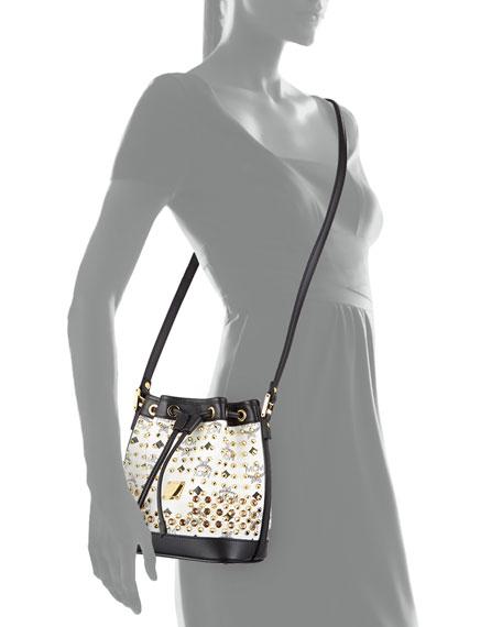 Diamond Visetos Drawstring Mini Bag, White
