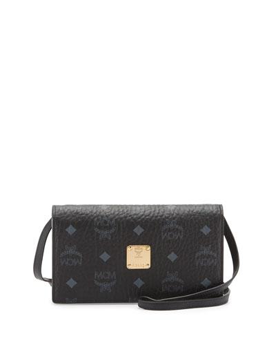 Color Visetos Crossbody Wallet, Black