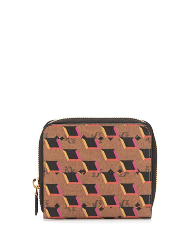 Diamond-Print Visetos Wallet, Cognac