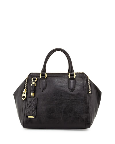 Justine Leather Top-Zip Satchel Bag, Black