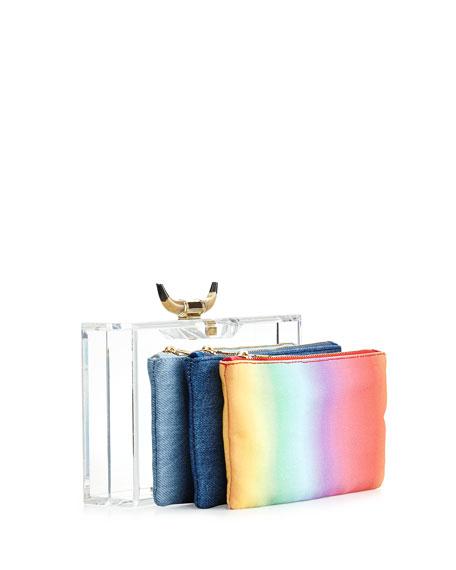 Horn Pandora Clutch Bag & 3 Pouches, Clear