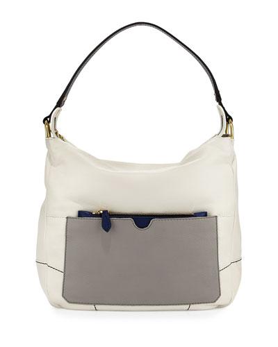 Adele Colorblock Shoulder Bag, White/Multi