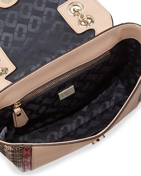 440 Mini Snake-Print Colorblock Shoulder Bag