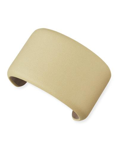 Leather Cuff Bracelet, Custard